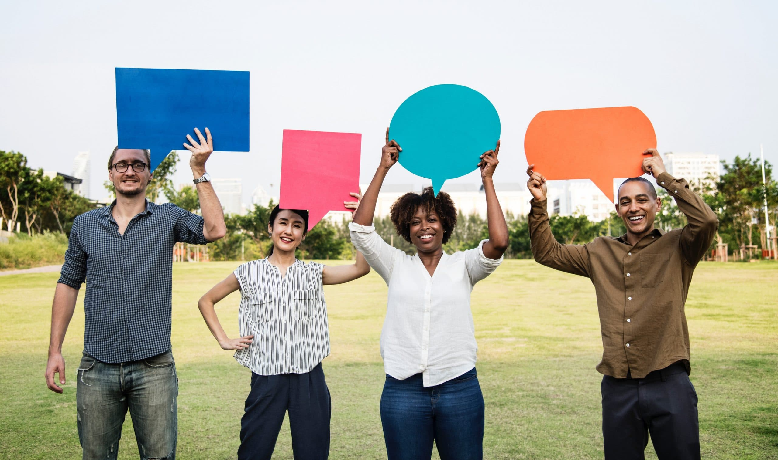 social proof - customers holding speech bubbles