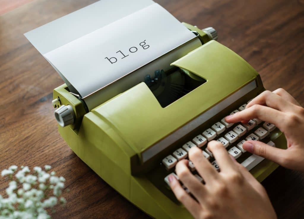 writing a blog on a typewriter